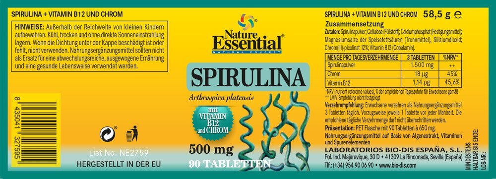 SPIRULINA 1650 + Vitamin B12 + Chrom
