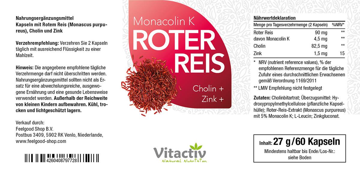 ROTER REIS (Monacolin K) + Cholin + Zink