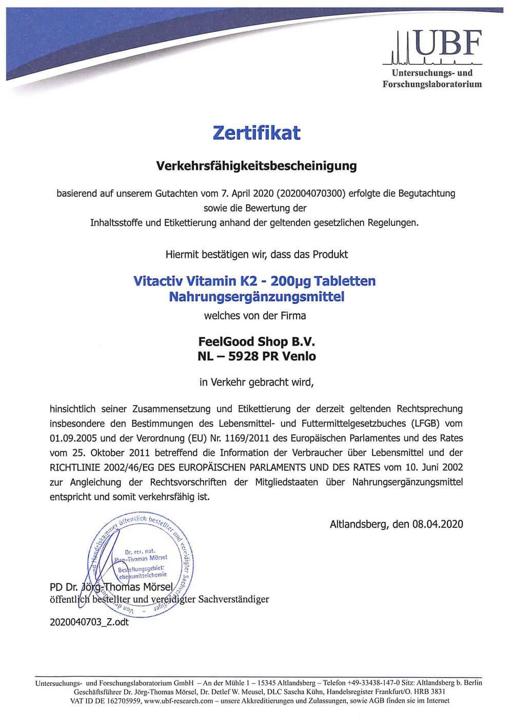 VITAMIN K2 200 µg