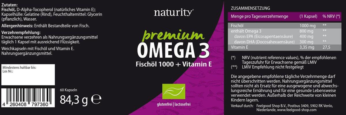 PREMIUM OMEGA 3 Fischöl 1000 + Vitamin E
