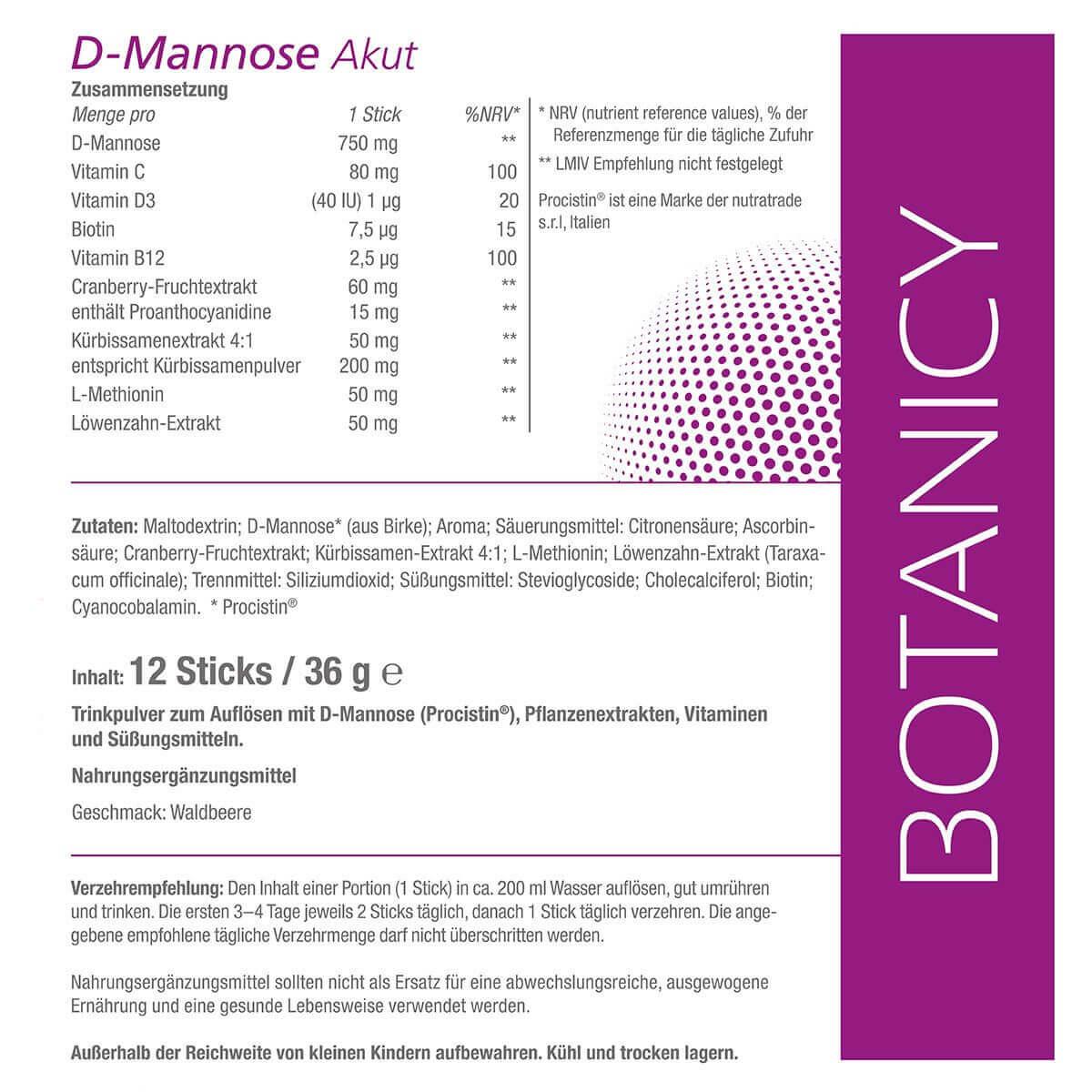 D-MANNOSE + Cranberry AKUT Sticks