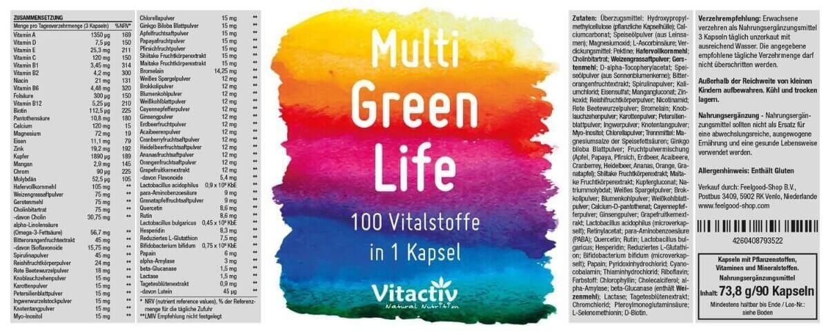 MULTI GREEN LIFE - Vitamine & Mineralien