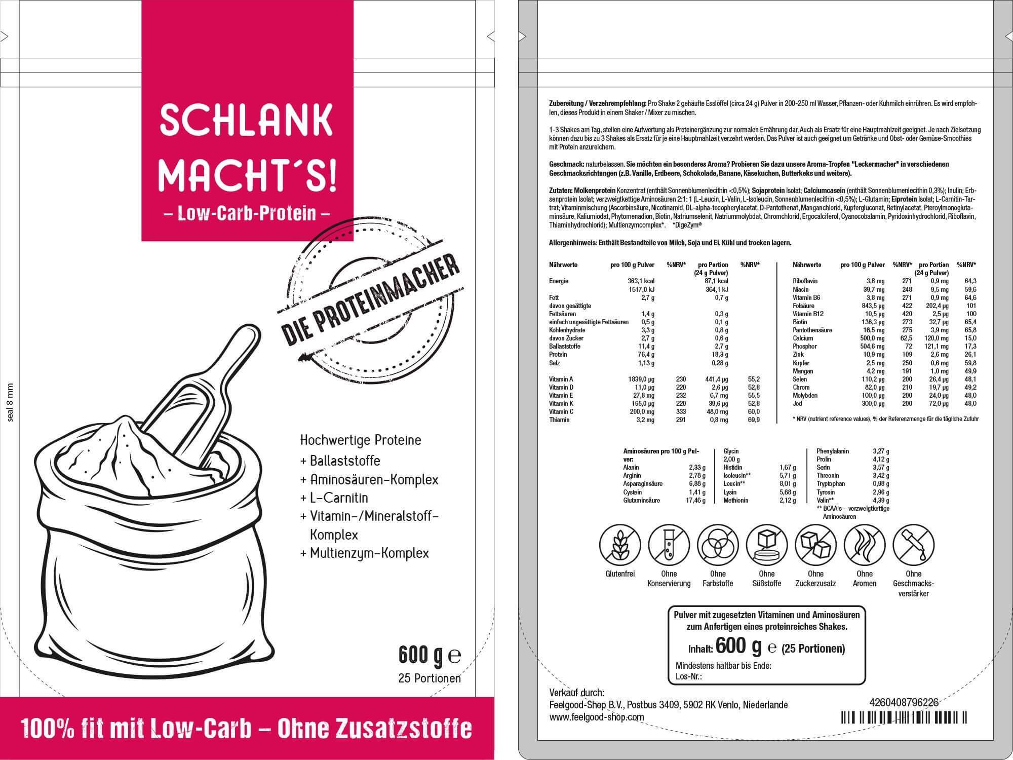 SCHLANK MACHT'S - Low-Carb Proteinpulver