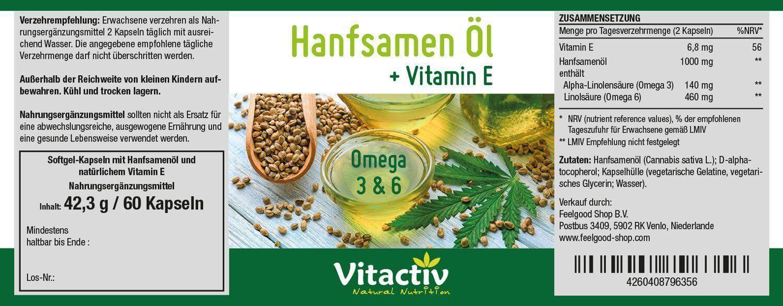 HANFSAMEN Öl + Vitamin E