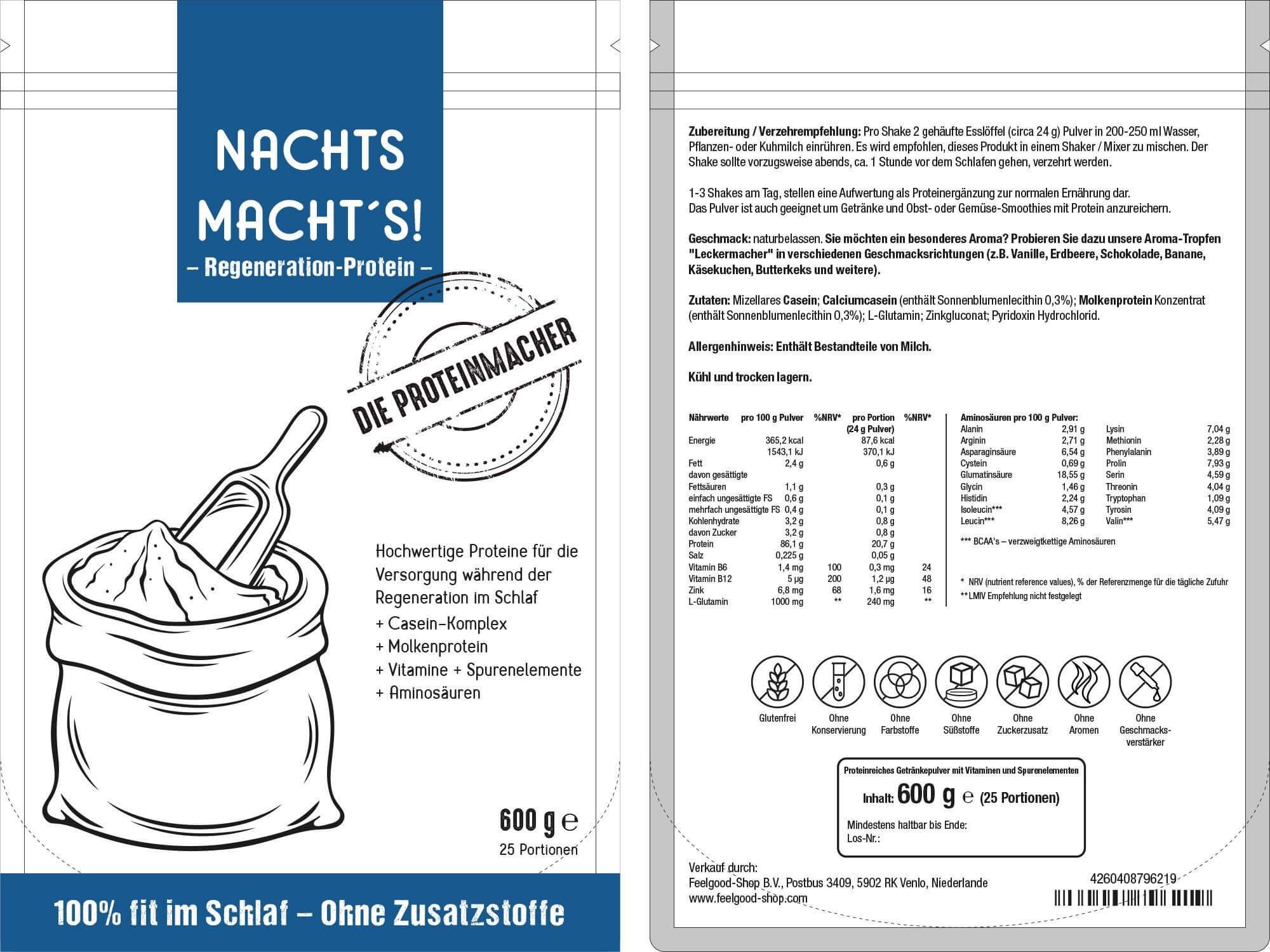 NACHTS MACHT'S - Regeneration Proteinpulver