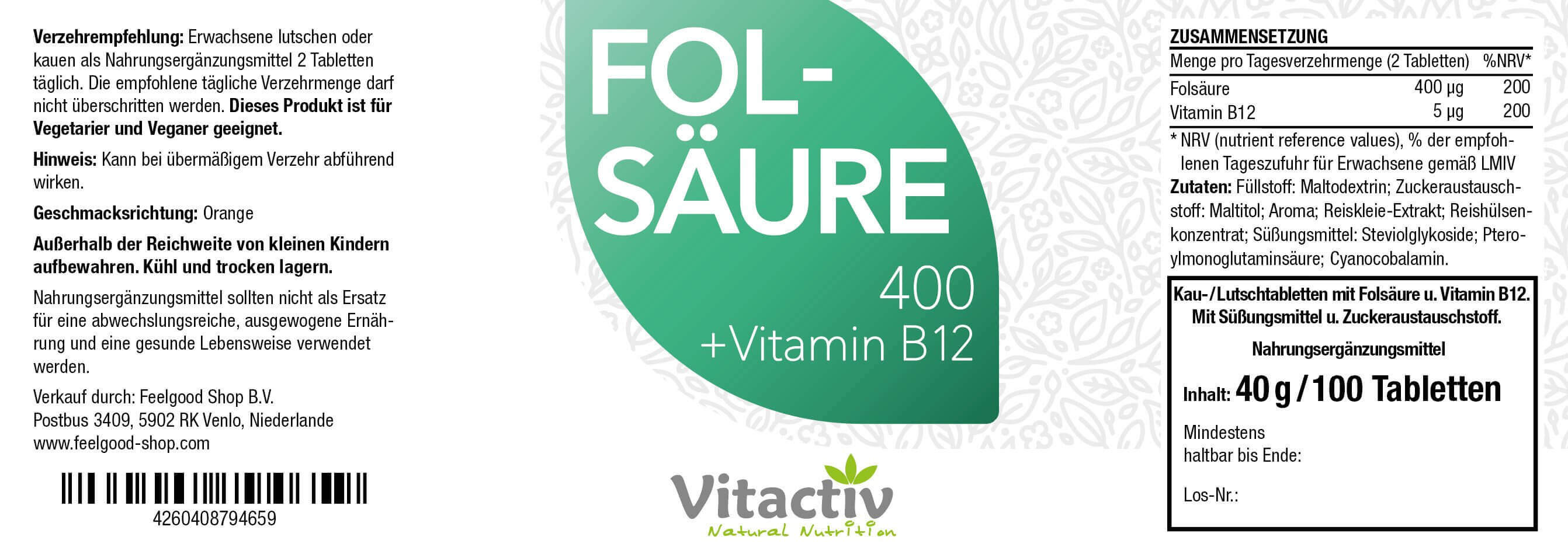 FOLSÄURE 400 + Vitamin B12